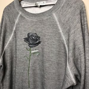 Wildfox Grey Rose Sweatshirt